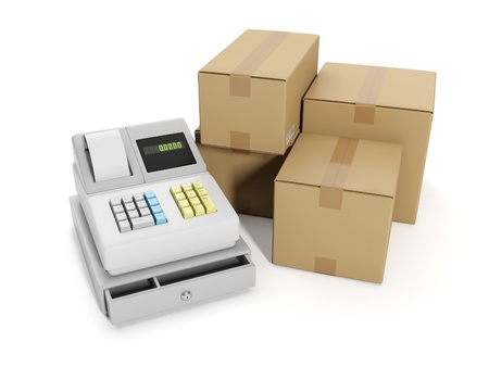 15562304 - 3d illustration: sale goods storage, warehouse. cash register and group boxes